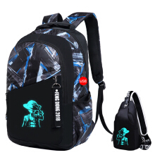 Jantens New luminous men backpack fashion college student travel backpack men bag Black
