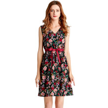 Newlan Q08 Fashion sexy ladies dress spring and summer cotton print dress