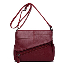 Jantens Women saddle Messenger bag fashion design sheepskin shoulder bag Messenger bag clutch bag Red