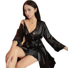 Farfi 2Pcs/Set Women Sexy Lace Strappy Dress Long Sleeve Robe Sleepwear Nightgown