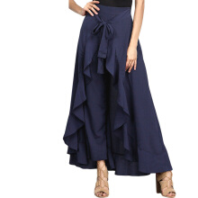Jantens skirt female new casual fashion chiffon belt waist ruffled wide leg loose pants