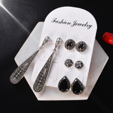 Jantens 4Pairs/Set Vintage Bohemia Earrings for Women 2018 Accessories Black
