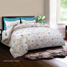 KING RABBIT Bedcover Double Motif Finch Bird - Ungu/ 230 x 230cm Purple