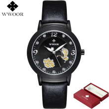 WWOOR Brand Luxury Women Watches Relogio Feminino Leather Clock Wristwatch Ladies Quartz Watch Fashion