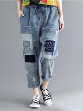 Embroidered Patchwork Drawstring Waist Ripped Jeans Blue XL