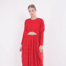 KORZ Pleated Lace Kaftan With Lace Appliqque