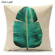 Farfi Green Leaf Linen Pillow Case