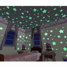 cute baby Glow in The Dark Star / Bintang - Stiker Dinding / Wall Sticker isi 100 pcs