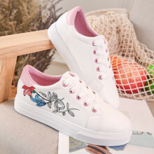 Flower Lace Up Sneaker Round Toe Casual Shoes For Women Pink 37