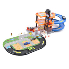 SiYing Puzzle children's toy rail car three-story parking lot with three alloy cars blue