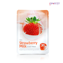 Masker Qiansoto Strawberry Milk Sheet Mask' Sachet ( Net 35 ml )