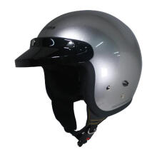 Cargloss Retro Army Helm Half Face - Silver Met Glosy
