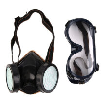 [COZIME] Protection Filter Double Gas Mask Chemical Gas Respirator Face Mask Goggles Black1