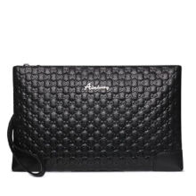 AIM S022 Simple large-capacity clutch bag leather envelope bag male hand bag holder bag-Black