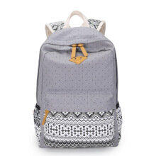 Keness Women's Korean Harajuku High School Student Trendy Travel Backpack Polka Dot Canvas Backpack
