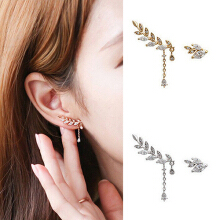 Farfi Women's Asymmetric Leaf Ear Clip Chain Drop Dangle Ear Cuff Stud Earrings