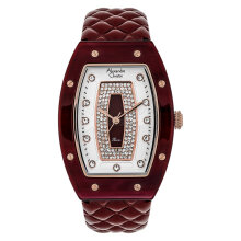 Alexandre Christie AC 2729 LH LRGSLDR Ladies Silver Dial Red Maroon Leather Strap  [ACF-2729-LHLRGSLDR]