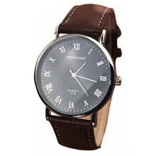 Farfi Roman Numerals Dial Faux Leather Band Quartz Analog Business Wrist Watch