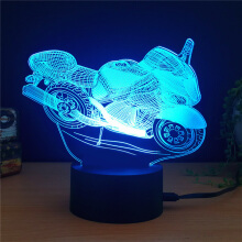 Colorful Motorcycle Shape 3D LED Table Lamp  - White