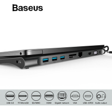 Baseus Multi All-in-1 USB Type-C to HDMI VGA Video Audio Converter Adapter USB 3.0 HUB with SD/TF Card Reader for Macbook Pro - Grey All in 1