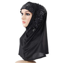 Farfi Lace Flower Rhinestone Decor Women Scarf Muslim Hijab Head Wrap Headwear