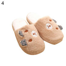 Farfi Winter Women Men Cute Pig Bear Warm Anti-Slip Indoor Shoes Home Slippers