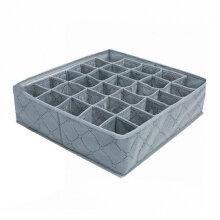 [kingstore] Charcoal 30 Cell Foldable Bamboo Underwear Socks Drawer Seperate Storage Box Grey