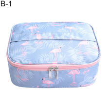 Farfi Portable Flamingo Print Cosmetic Container Makeup Bag Travel Toiletry Organizer