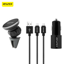 Awei X10 3 in 1 Air Vent Magnetic Phone Holder + Dual USB Car Charger + Micro USB 8 Pin Charging Data Cable 1.2M Set Black