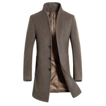 BESSKY Men's Jacket Warm Winter Trench Long Outwear Button Smart Overcoat Coats _