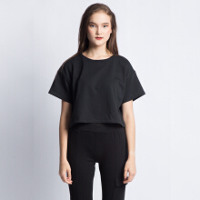 ANTHM-Cropped T-shirt with Back Details-Black