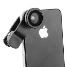 Vaping Dream -   iPhone 5, 4 dan 4S  Universal Wide Angle & amp; Makro & amp; Fish Eye Lens dengan Clip Black