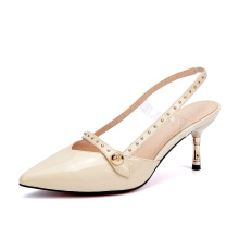 AOKANG 2018 184712025 Summer women shoes fashion breathable women sandals sexy thin heels sandals beige