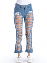 Pure Color Hollow Casual Ripped Jeans Blue L