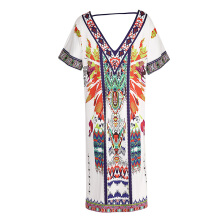 CAUSEY European and American printed two-sided split dress  Whiteone size