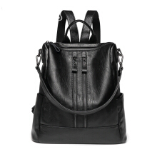 YOOHUI Large-capacity ladies backpack soft leather hot bag multi-function bag leather ladies Black