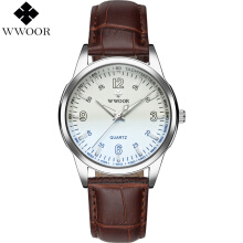 WWOOR Brand Luxury Men Watch Waterproof Quartz Watch Leather Sports Clock