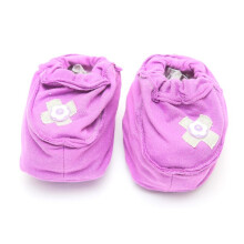 Cribcot Booties with Ribbon - Purple & Light Grey  0-3M