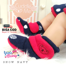 Cuddle Me Sepatu Prewalker Bayi Fitted Booties Snow Navy CME007I