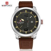 NAVIFORCE Date Quartz Watch Men Casual Military Sports Watches Leather Male Wristwatch 9063
