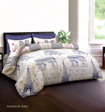KING RABBIT Bedcover Double Motif Bonjour - Biru/ 230 x 230cm Blue