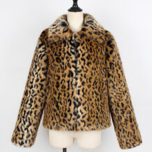 Womens Ladies Cute Leopard Lapel Faux Fur Coat Vintage Warm Long Sleeve Jacket L