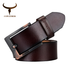 COWATHER belts for high quality cow genuine leather vintage New designer pin buckle ceinture mens belts