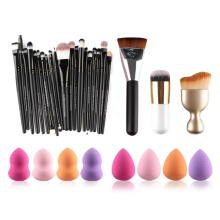 MAANGE5152 20 Pcs Makeup Brushes Set + 8 Pcs Makeup Sponges + S-Shape Blush Brush + Foundation Brush + Contour Brush COLORMIX