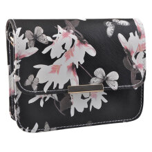 [LESHP]Women Floral Pattern leather Handbag Small Messenger Bag Clutch Shoulder Bags Black