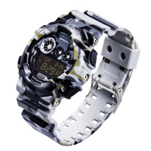 SANDA 289 Digital Watch Camouflage Style Military Waterproof Men Sport Wrist Watch  White