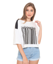 DAMN I LOVE INDONESIA Tee Barcode Female White