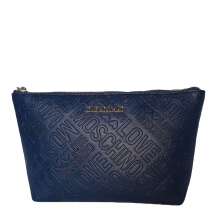 LOVE MOSCHINO Embossed PU Navy Pouch