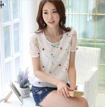 Jantens Summer dress Korean mesh chiffon shirt half sleeve shirt white loose T-shirt