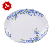 ARCOPAL Decor Aliya Blue Oval Plate  34cm Set of  2